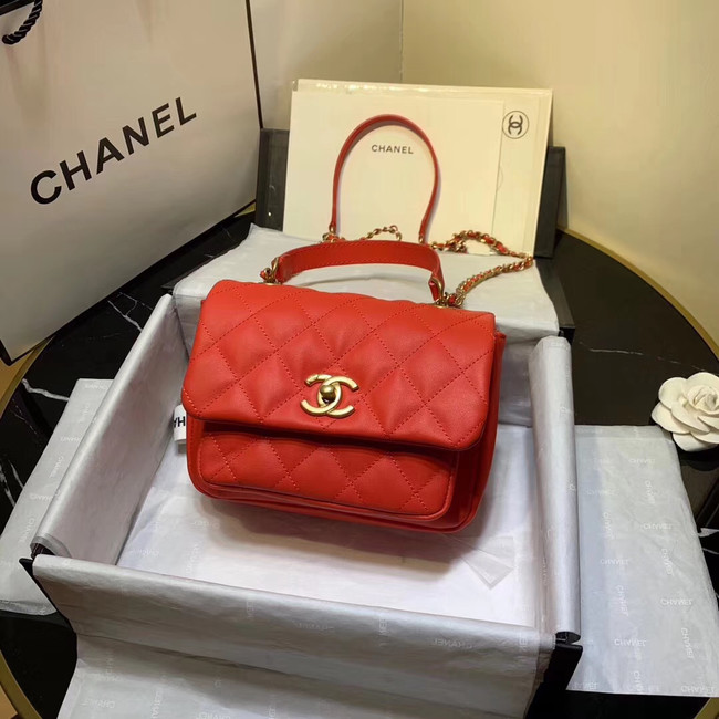Chanel flap bag Grained Calfskin & Gold-Tone Metal AS1155 red
