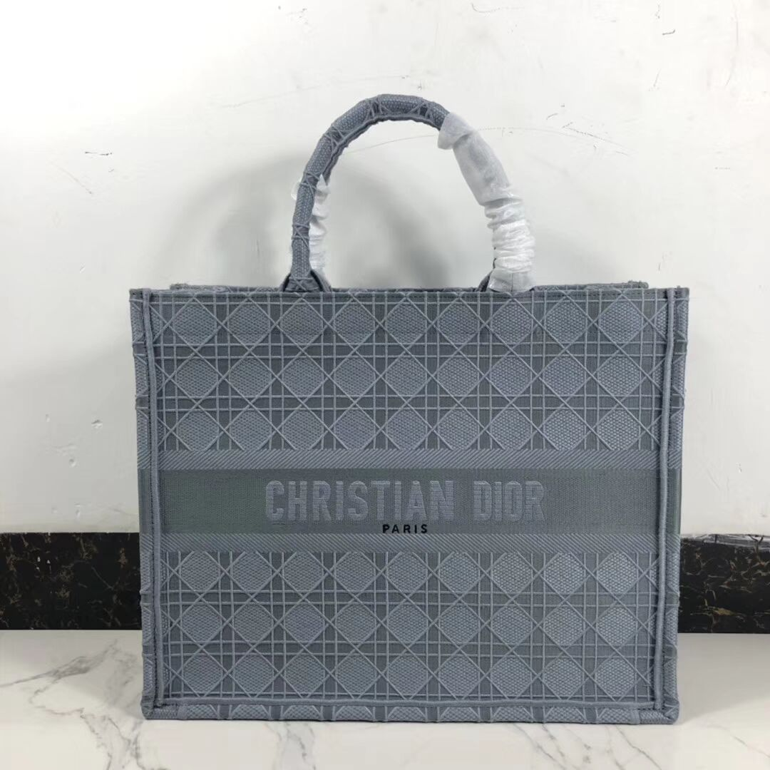 DIOR BOOK TOTE BAG IN EMBROIDERED CANVAS C1286 grey blue