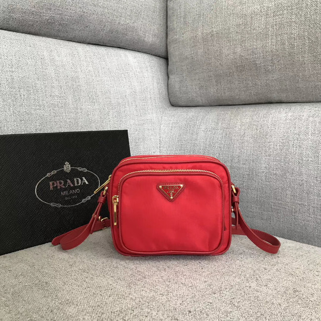 Prada Nylon Shoulder Bag 82022 red