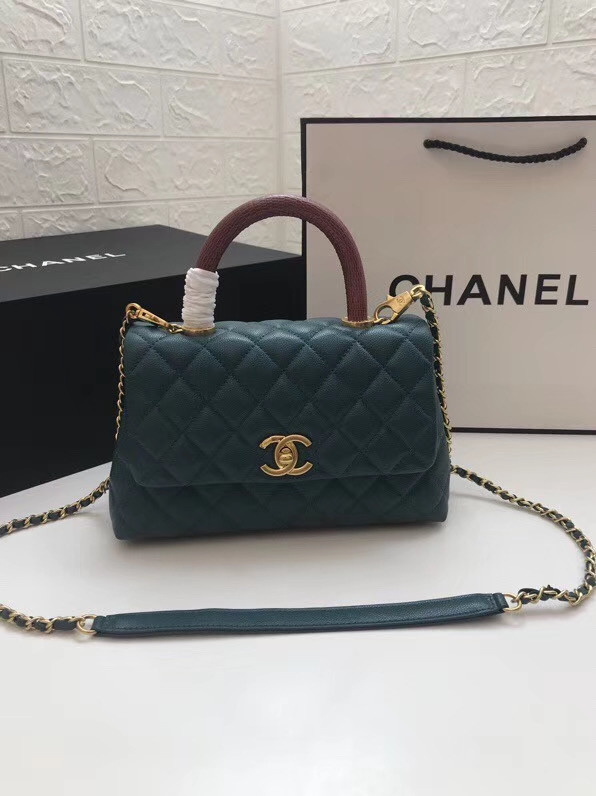 Chanel Small Flap Bag with Red Top Handle A92990 blue