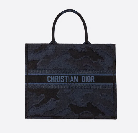 DIOR BLUE DIOR BOOK TOTE CAMOUFLAGE EMBROIDERED CANVAS BAG M1286
