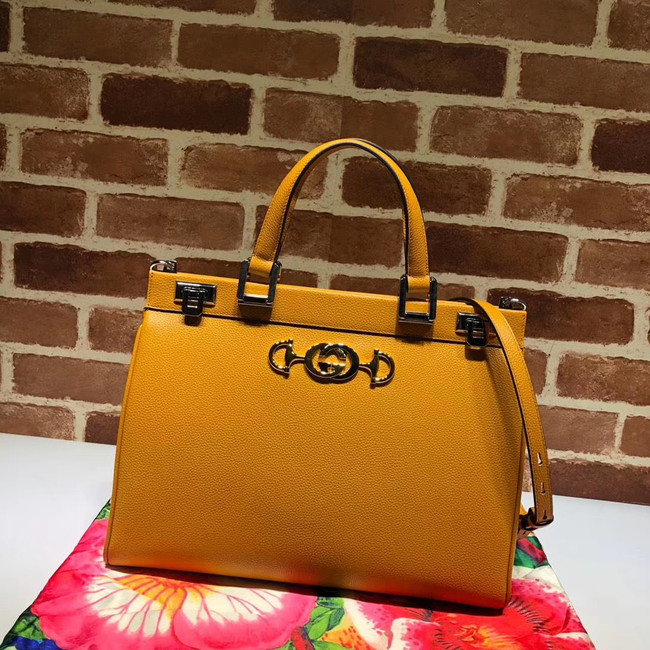 Gucci Zumi grainy leather medium top handle bag 564714 yellow