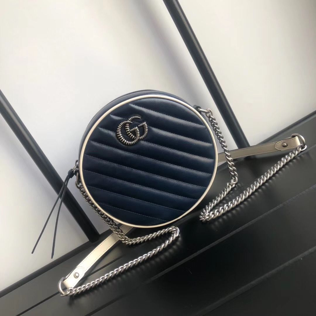 Gucci GG Marmont mini round shoulder bag 550154 Navy