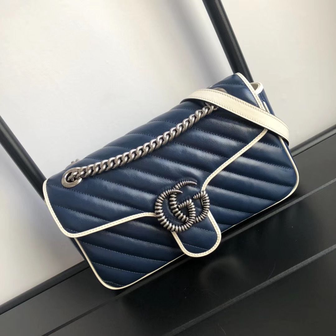 Gucci GG Marmont small shoulder bag 443497 Navy