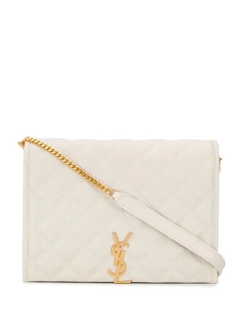 SAINT LAURENT leather shoulder bag Y579607 white
