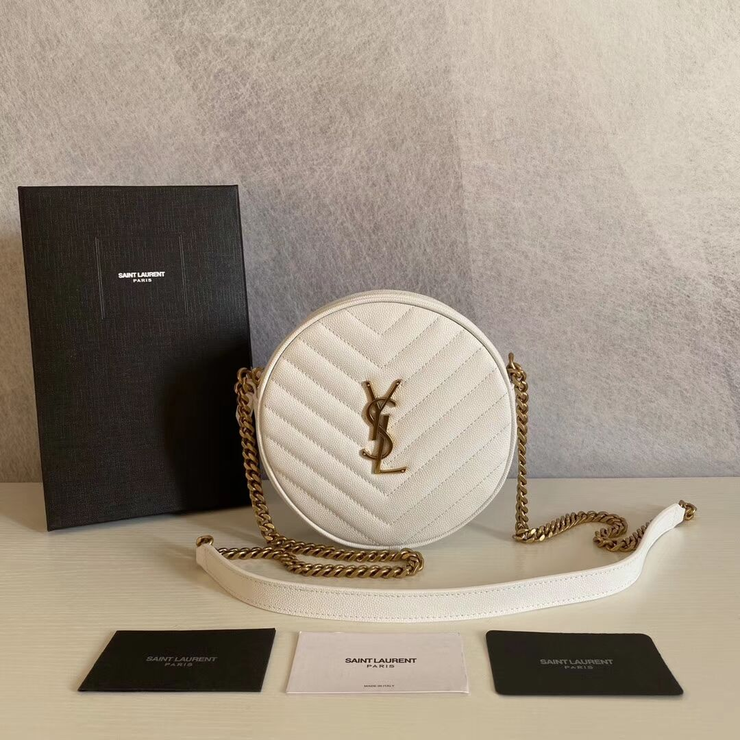 SAINT LAURENT leather shoulder bag Y610436 white