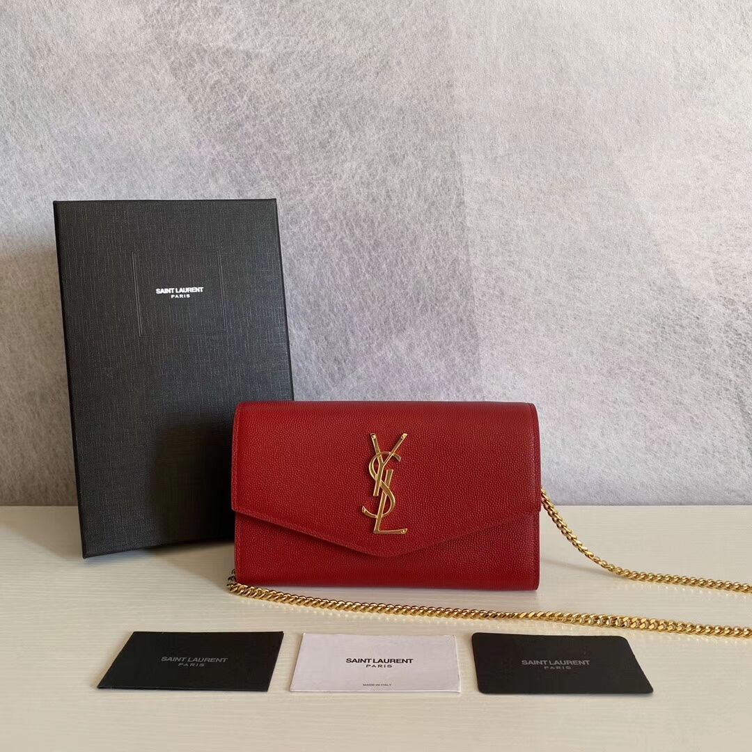 SAINT LAURENT leather shoulder bag Y659193 red