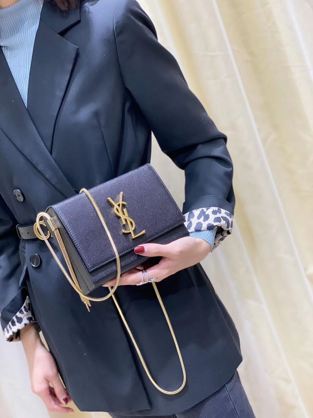 Yves Saint Laurent Kate mini Original leather Shoulder Bag Y593122 Black