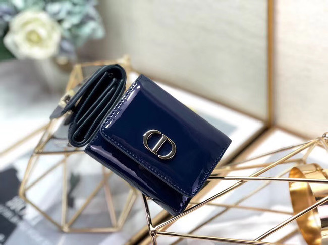 Dior MEDIUM 30 MONTAIGNE LOTUS PATENT CALFSKIN WALLET S2057 blue