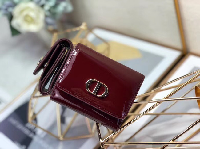 Dior MEDIUM 30 MONTAIGNE LOTUS PATENT CALFSKIN WALLET S2057 fuchsia