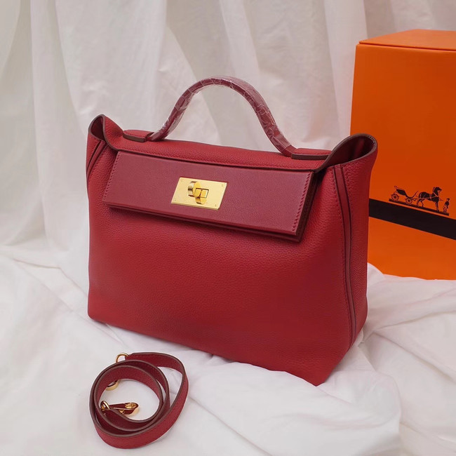 Hermes Kelly togo Leather Tote Bag H2424 red