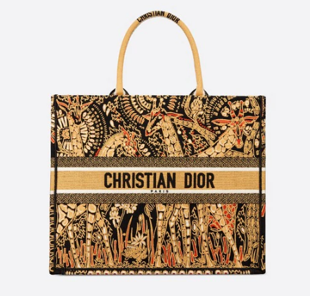 YELLOW AND BLACK DIOR BOOK TOTE DIOR ANIMALS EMBROIDERED CANVAS BAG M16E