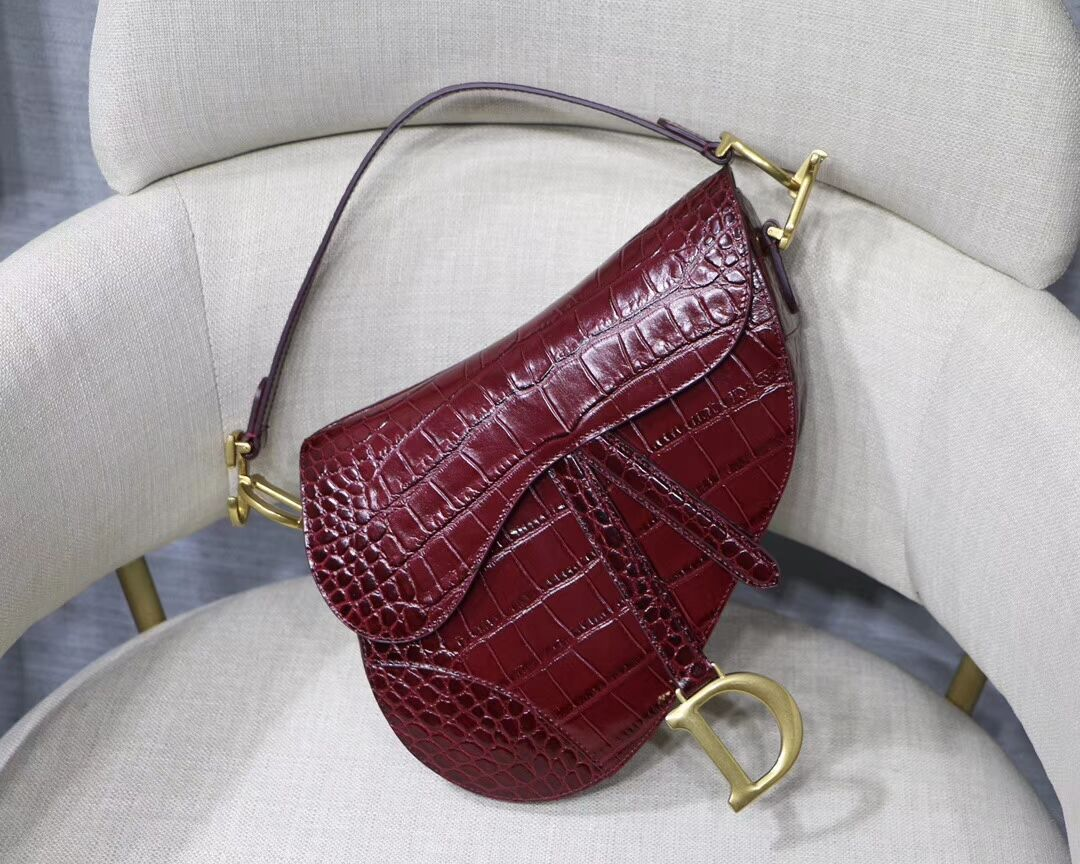 Dior SADDLE SOFT CALFSKIN BAG C9045 Burgundy