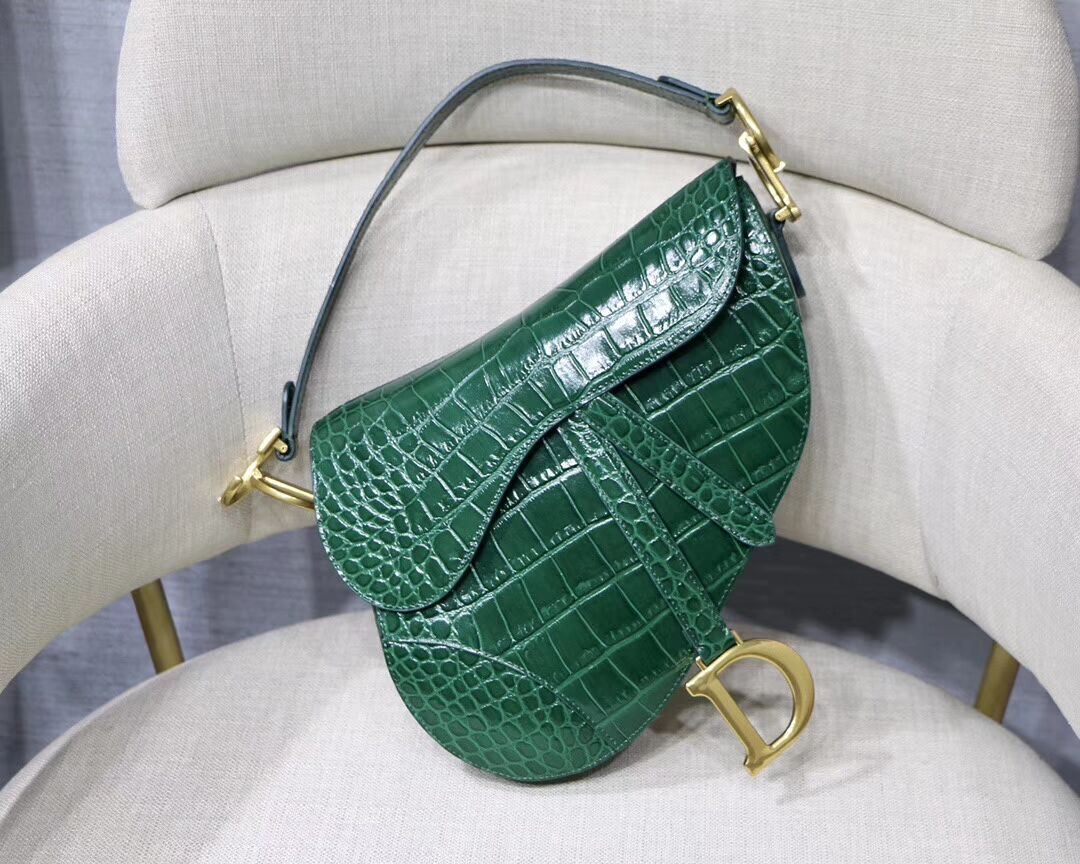 Dior SADDLE SOFT CALFSKIN BAG C9045 green