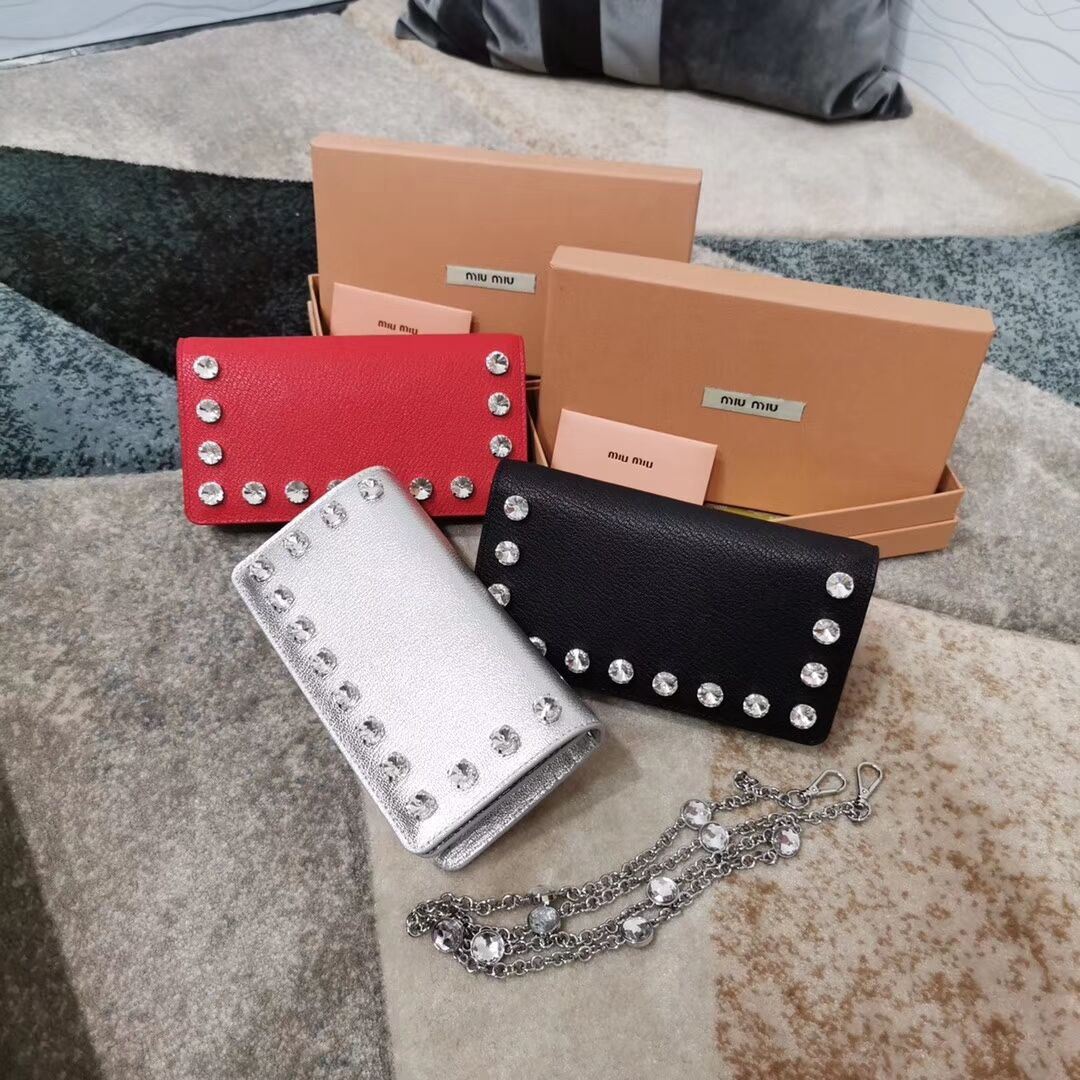 miu miu Matelasse Nappa Leather Clutch 5DH044 red