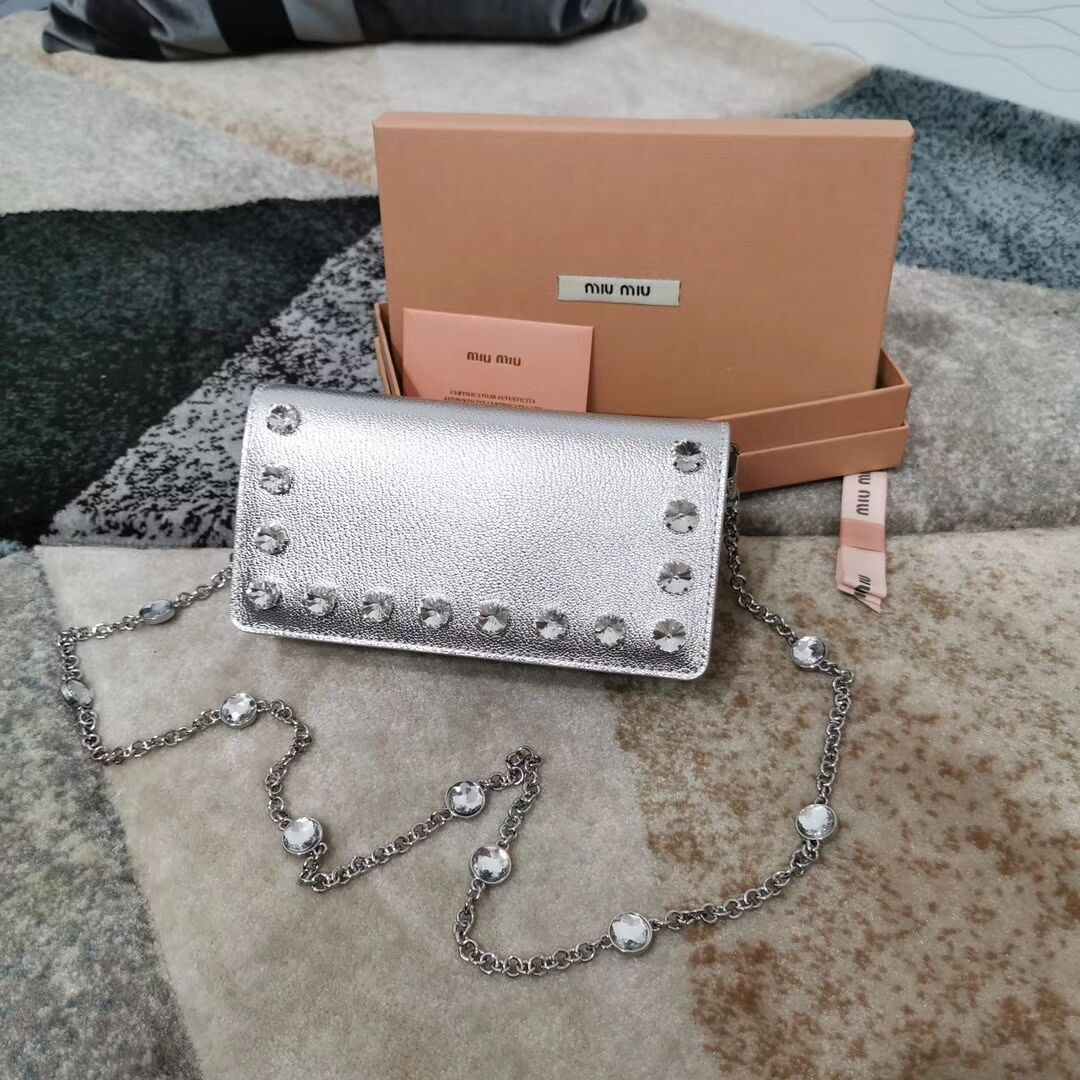 miu miu Matelasse Nappa Leather Clutch 5DH044 silver