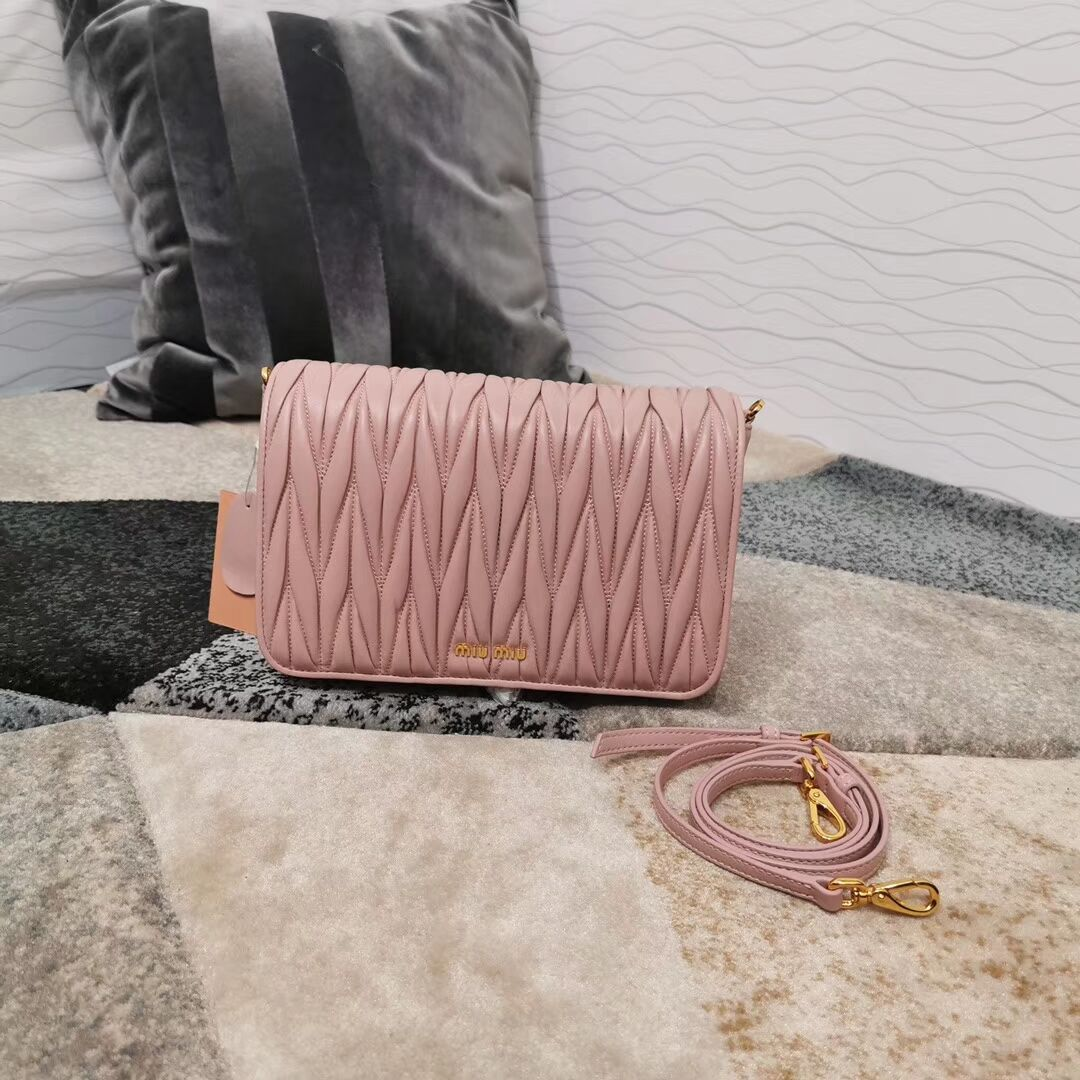 miu miu Matelasse Nappa Leather shoulder bag 5BG163 pink