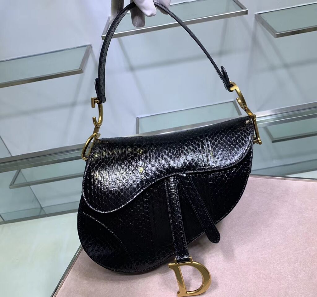 Dior SADDLE Snake skin tote C9046 black
