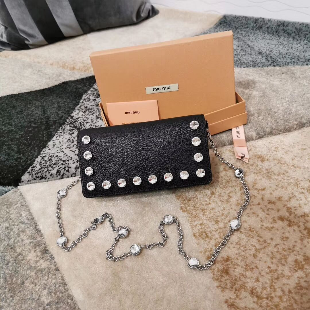 miu miu Matelasse Nappa Leather Clutch 5DH044 black