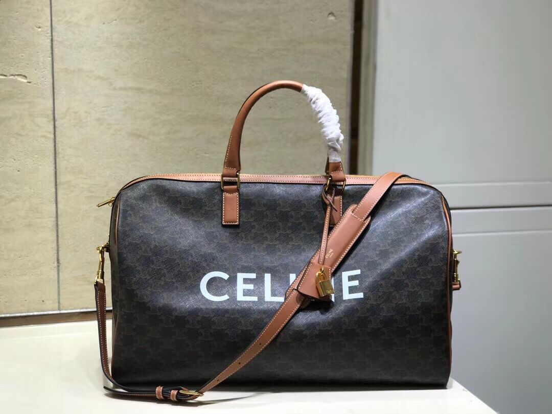 Celine LARGE VOYAGE BAG IN TRIOMPHE CANVAS 191472 tan
