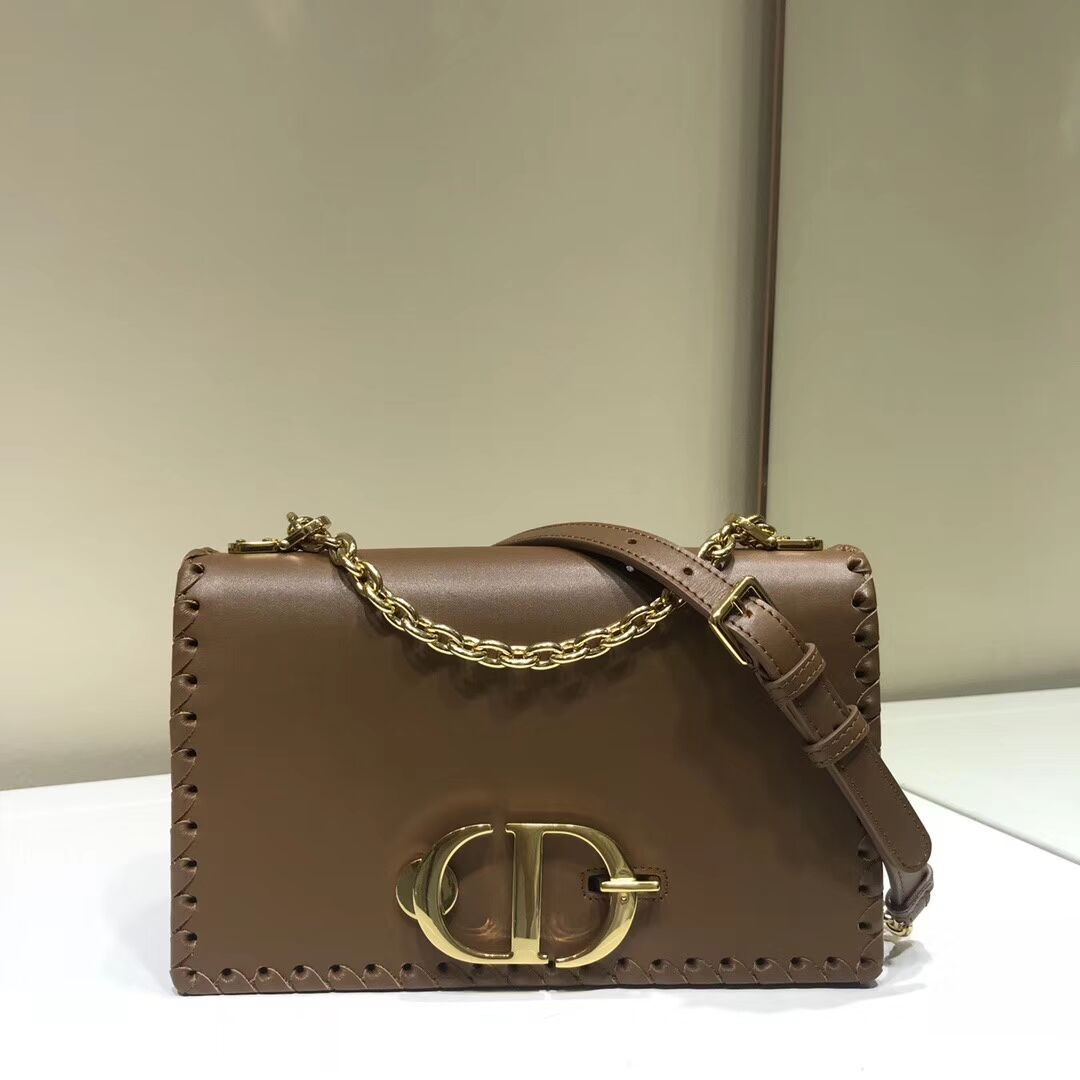 DIOR 30 MONTAIGNE THREADED EDGES CALFSKIN FLAP CHAIN BAG M9220 brown
