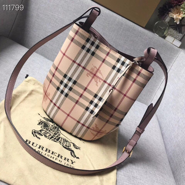 BURBERRY Banner small vintage check and leather tote Bag 1581 pink
