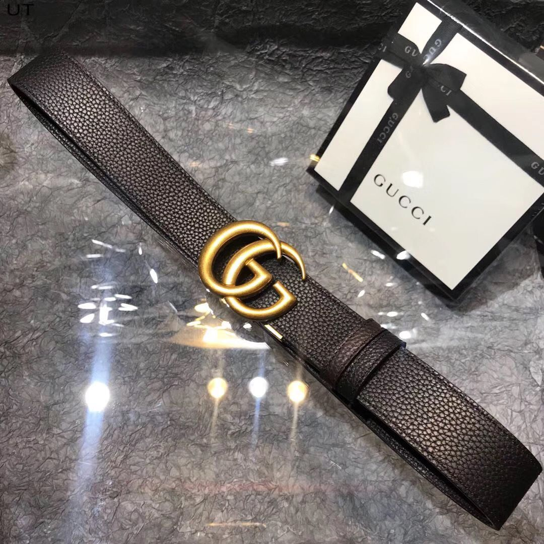 Gucci Original Litchi Leather 4CM Wide Available on both sides Belt 68884C Black & Brown