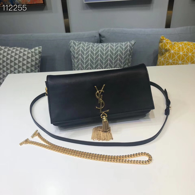 Yves Saint Laurent Calfskin Leather Shoulder Bag 604276 black
