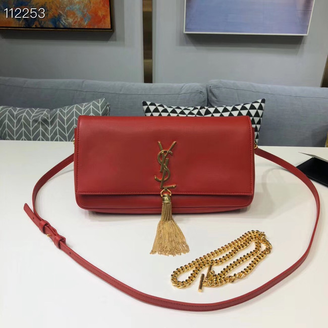 Yves Saint Laurent Calfskin Leather Shoulder Bag 604276 red