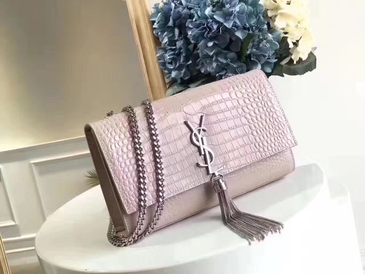 Yves Saint Laurent Crocodile Original Leather Shoulder Bag 1456 Pink&Silver