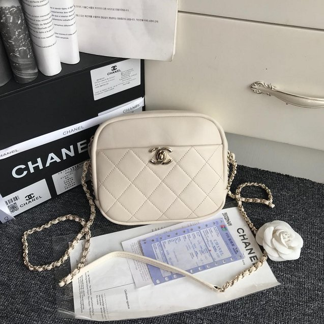 Chanel Original Calfskin Leather Camera Case AS0137 White