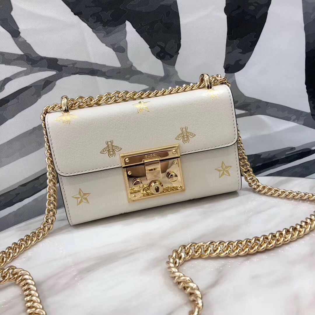 Gucci Signature GG Original Marmont Leather Shoulder Bag 431382 White Bee