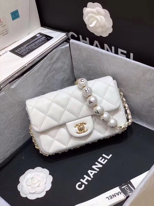 Chanel flap Imitation Pearls bag AS1436 white