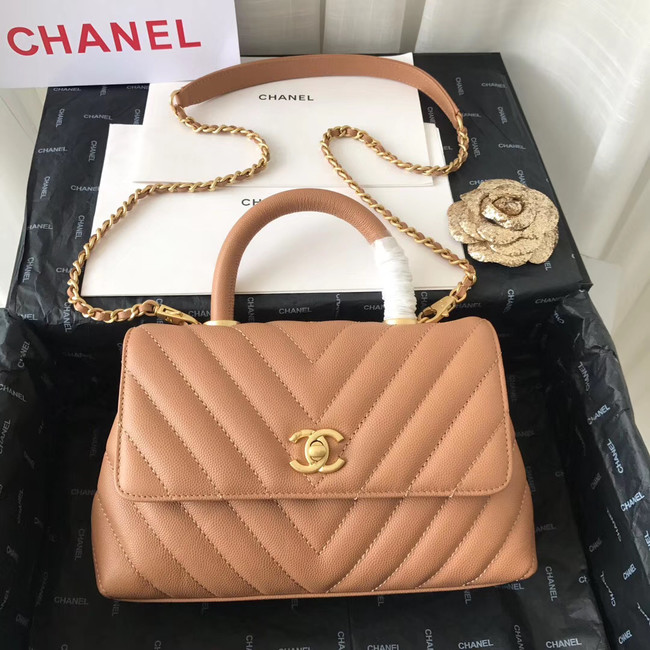 Chanel Small Flap Bag with Top Handle V92990 Light Pink gold-Tone Metal
