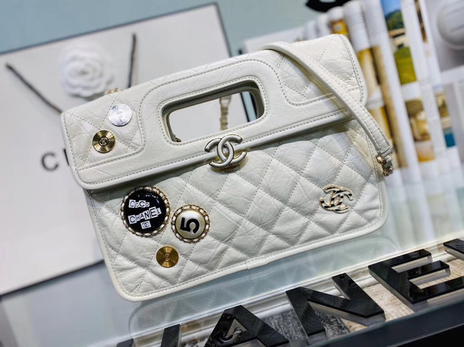 Chanel Original Soft Leather Bag & Gold-Tone Metal AS1430 white