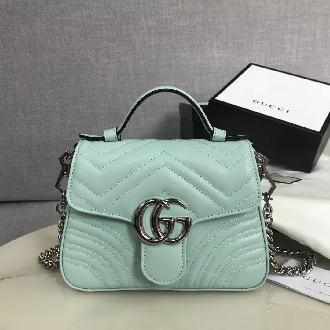 Gucci GG Marmont mini top handle bag 547260 light green