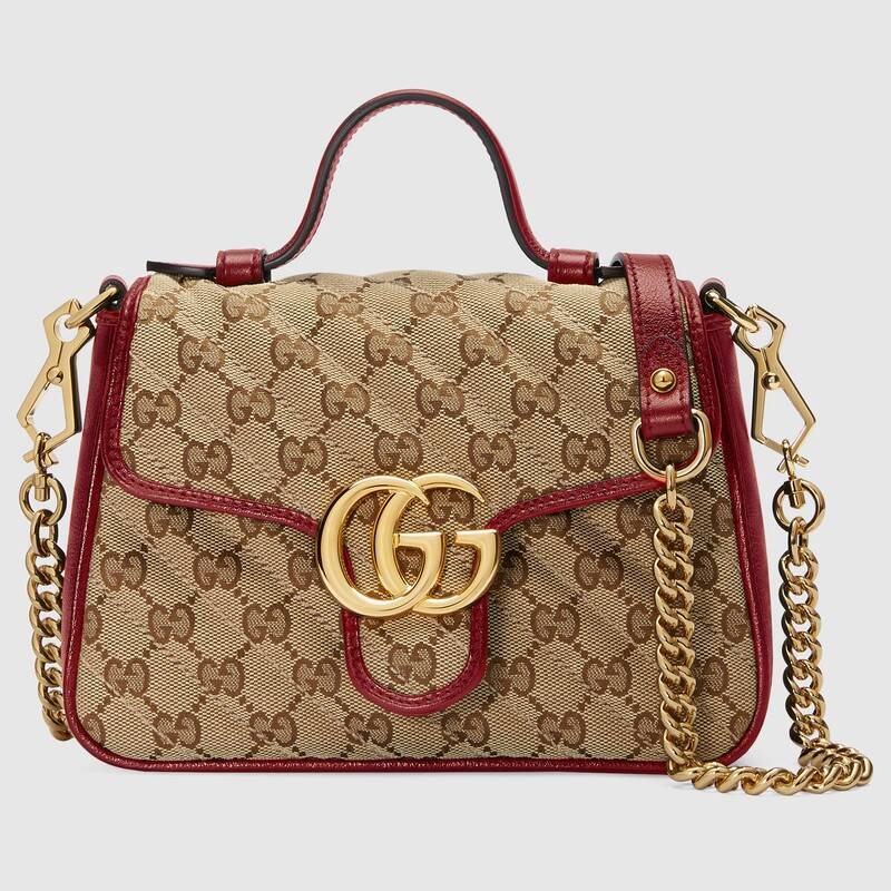 Gucci GG Supreme canvas Mini Top Handle Bag 583571 red