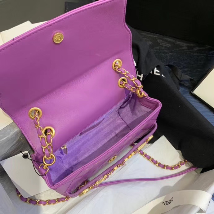 Chanel small Flap Bag Original Sheepskin Leather AS1490 Lavender