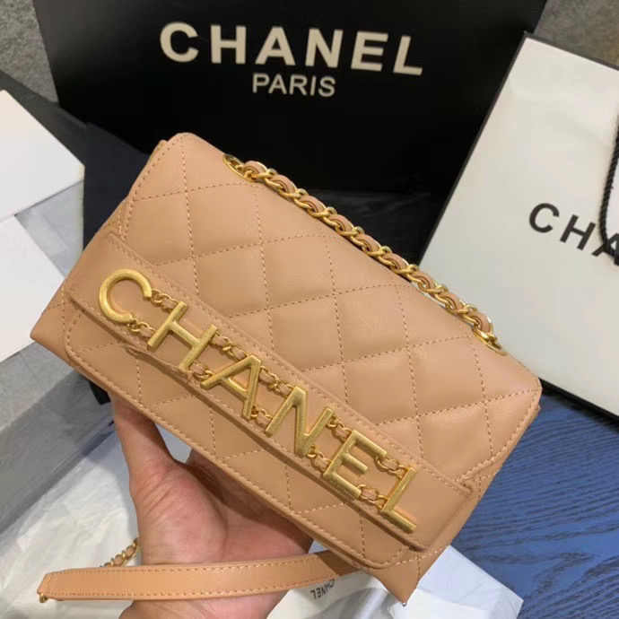 Chanel small Flap Bag Original Sheepskin Leather AS1490 apricot