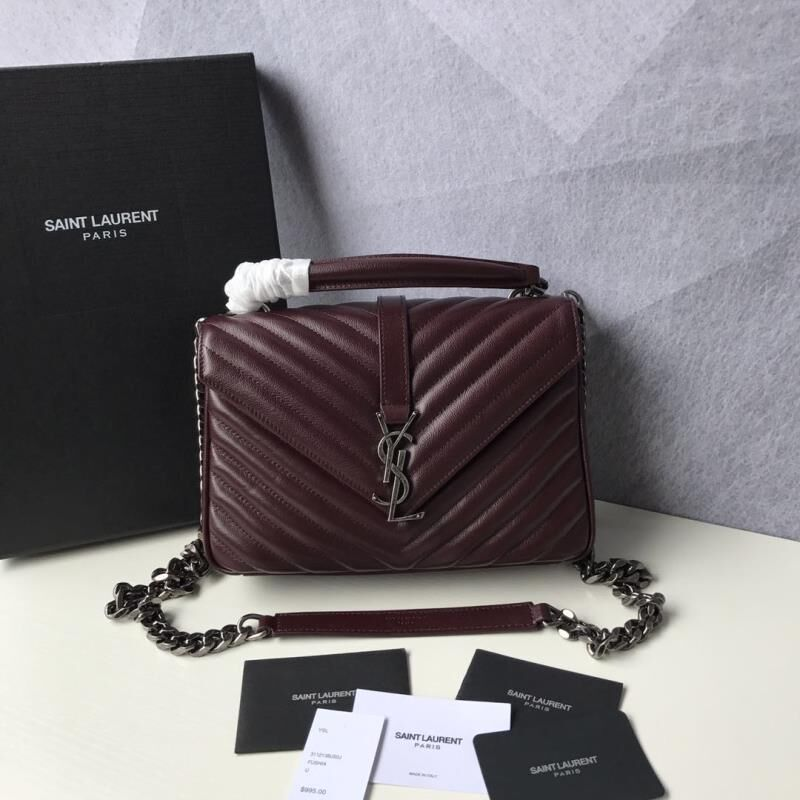 Saint Laurent Classic Monogramme Goat Original Leather Flap Bag Y392738 Burgundy