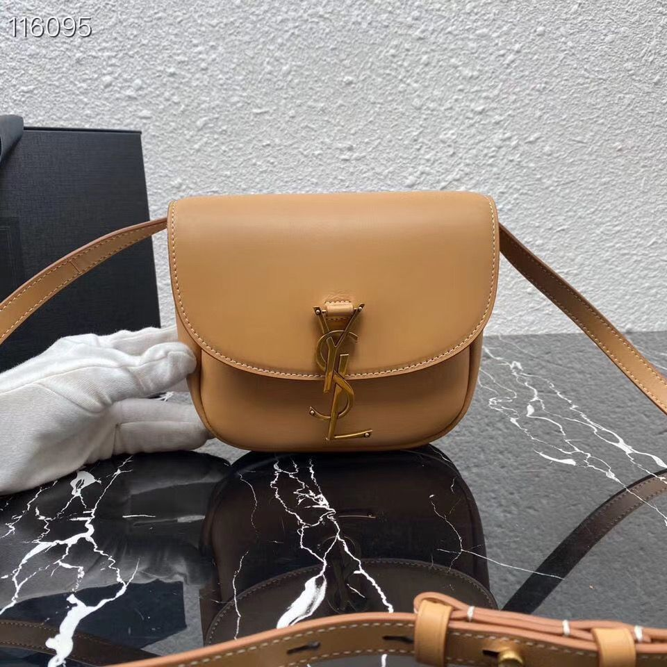 Yves Saint Laurent Calfskin Leather Shoulder Bag 619740 apricot