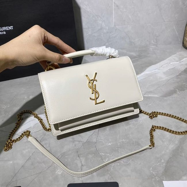 Yves Saint Laurent Calfskin Leather Shoulder Bag Y533036 White&gold-Tone Metal