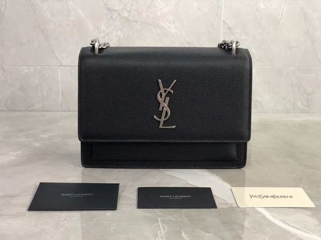 Yves Saint Laurent Calfskin Leather Shoulder Bag Y542206B black&silver-Tone Metal