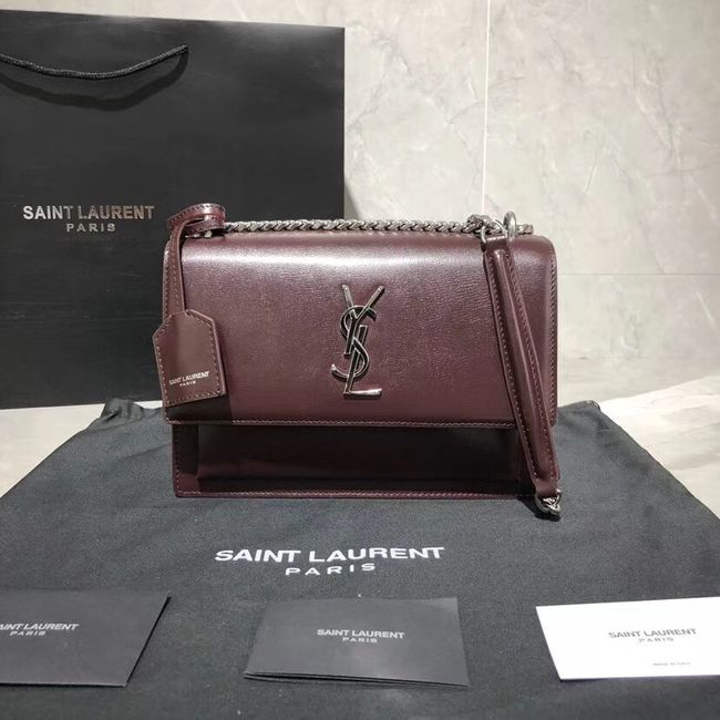 Yves Saint Laurent Calfskin Leather Shoulder Bag Y542206B Burgundy &silver-Tone Metal