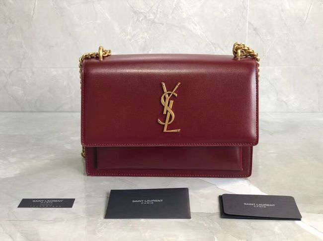 Yves Saint Laurent Calfskin Leather Shoulder Bag Y542206B red