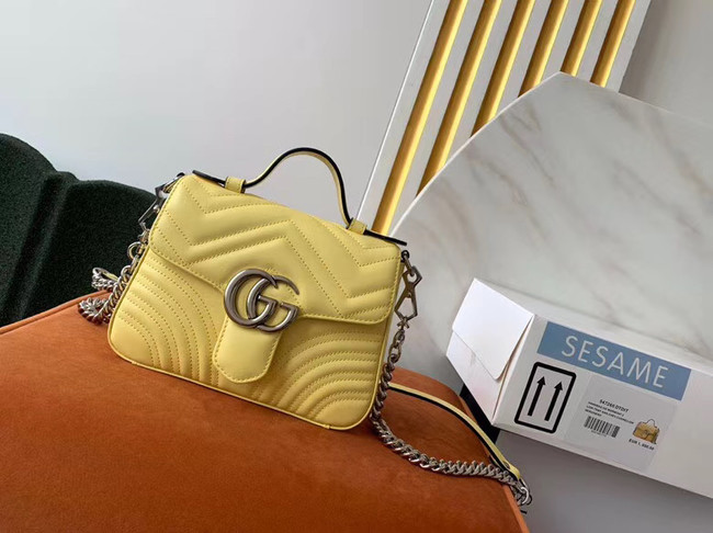 Gucci GG Marmont mini top handle bag 547260 yellow