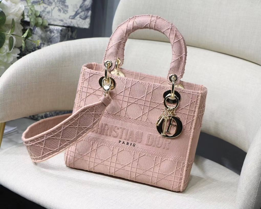 LADY DIOR TOTE BAG IN EMBROIDERED CANVAS C4532 pink Gold Hardware