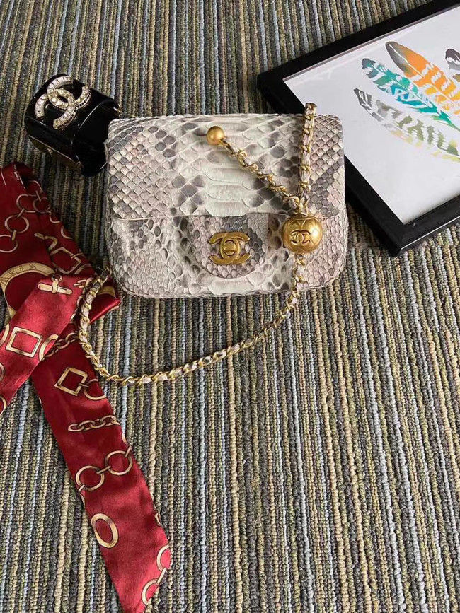Chanel Original Small Snake skin flap bag AS1115 light grey