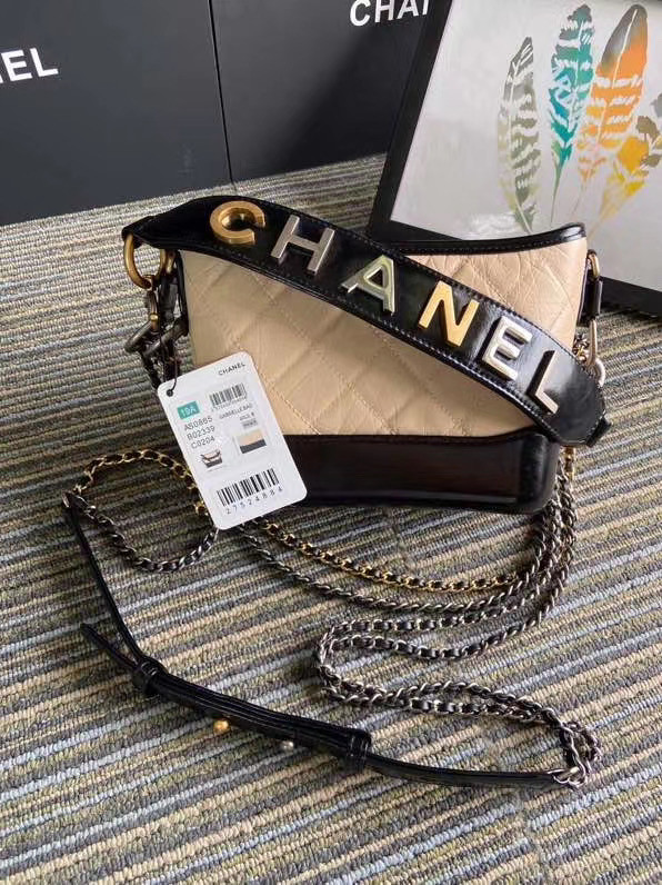 Chanel gabrielle small hobo bag S0865 apricot&black