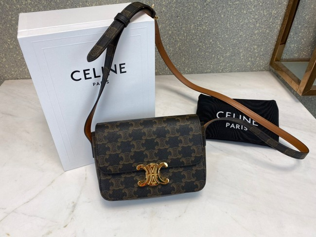 Celine MINI FOLCO BAG IN TRIOMPHE CANVAS CL01503 tan